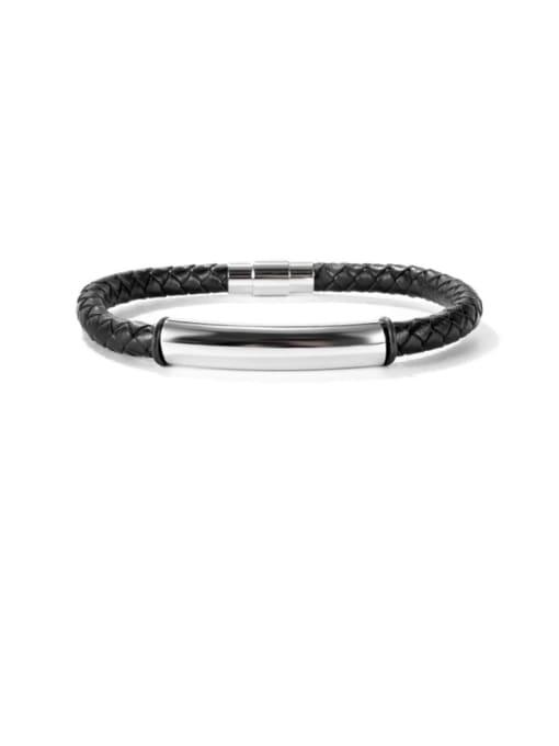 1469 Leather Bracelet [black] Titanium Steel Leather Geometric Hip Hop Woven Bracelet